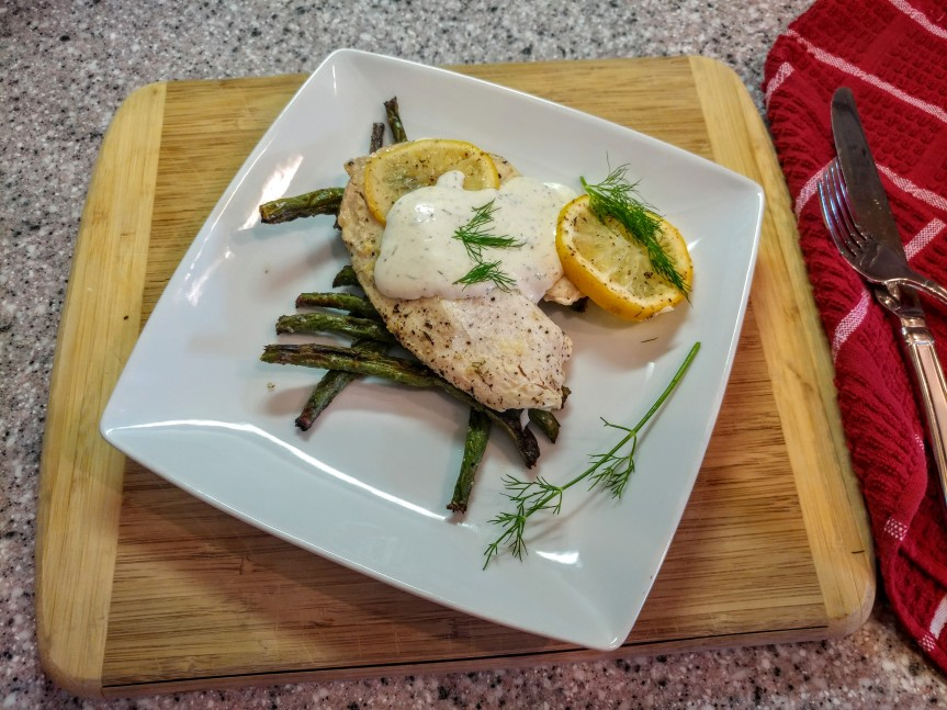 Roasted Tilapia and Green Beans with Dilly Sauce